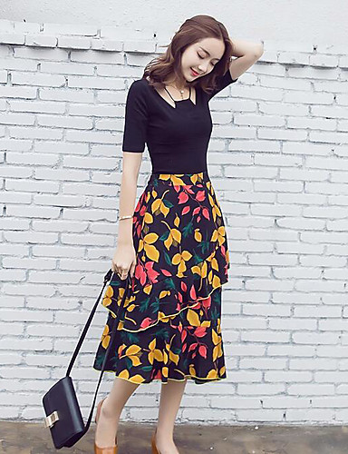 Women's Going out Vintage Summer T-shirt Skirt Suits,Solid Botanical Round Neck Short Sleeve Inelastic
