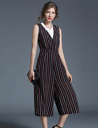 Women's Daily / Holiday / Going out Vintage / Boho Jumpsuit - Striped V Neck / Beach