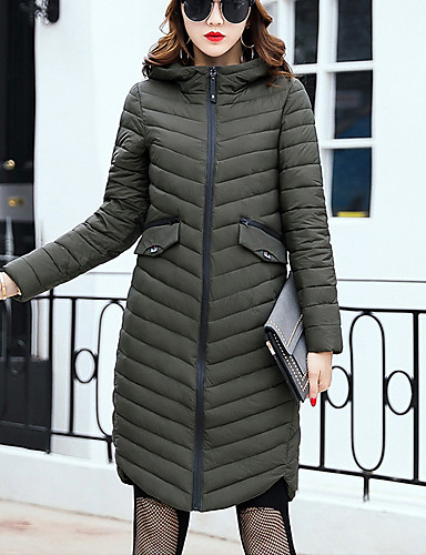 Women's Long Hooded Padded Coat Simple Street chic Plus Size Casual Polypropylene Long Sleeve Dark Gray /Army Green /Black /Brown /Wine Winter