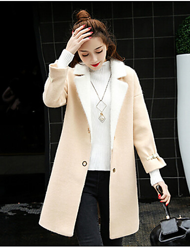Women's Daily Casual Spring Coat,Solid Shawl Lapel Long Sleeve Long Polyester