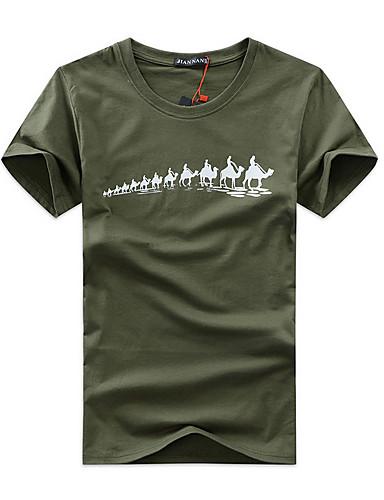 Homens Tamanhos Grandes Camiseta Activo Fashion / Estampado, Desenho Animado Algodão Decote Redondo / Manga Curta