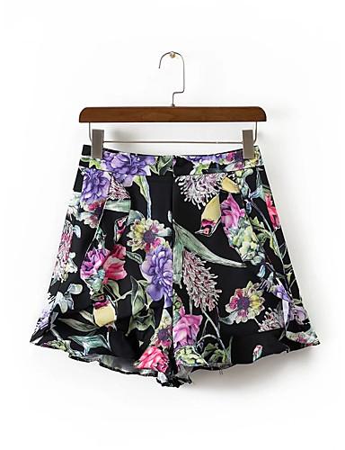 Dame Gatemote Mikroelastisk Løstsittende Shorts Bukser,Mellomhøyt liv Bomull Polyester Blomstret Trykt mønster Sommer
