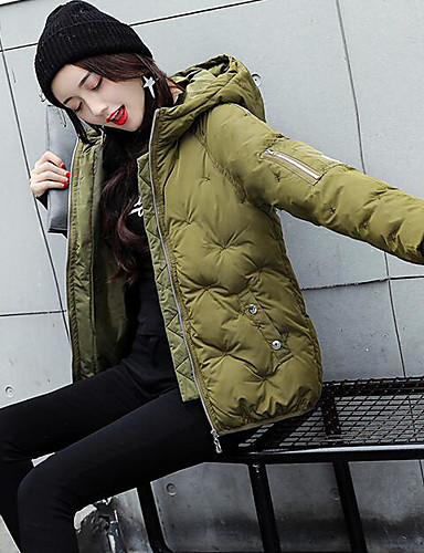Women's Regular Padded Coat,Simple Casual/Daily Solid-Polyester Polypropylene Long Sleeves