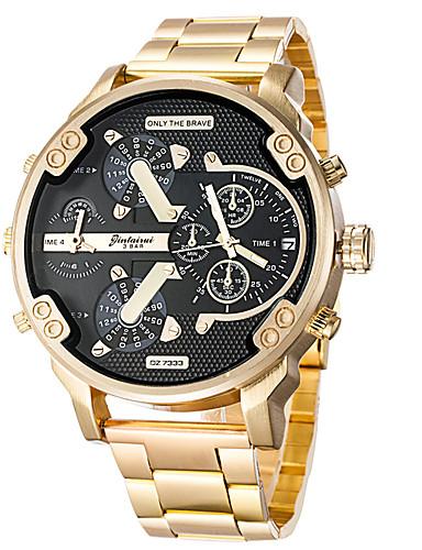 071002c4cc81 Hombre Reloj Deportivo Reloj Militar Reloj de Pulsera Cuarzo Acero  Inoxidable Cuero Auténtico Negro   Dorado