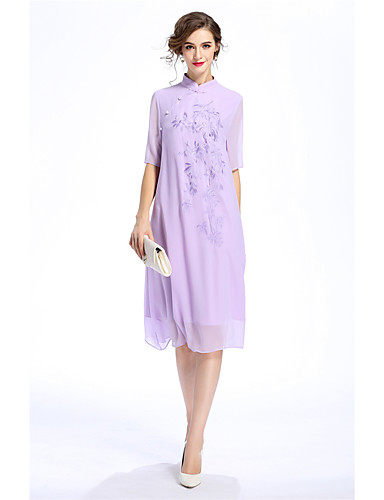 MARCOBOR Women's Daily Going out Vintage Casual Chinoiserie Loose Dress,Solid Embroidered Stand Asymmetrical Half Sleeves Polyester Summer Mid Rise