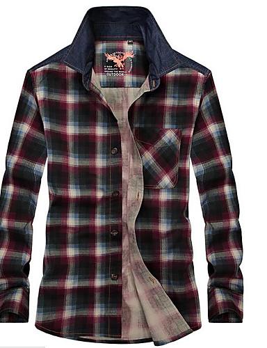 Bomull Langermet,Skjortekrage Skjorte Stripet Bokstaver Enkel Fritid/hverdag Herre