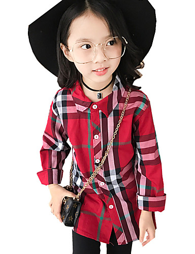Girls' Print Plaid Shirt,Cotton Fall All Seasons Long Sleeve Floral Red Khaki