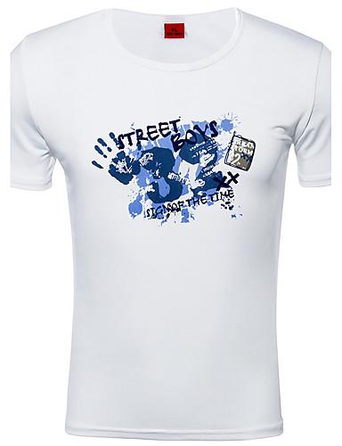 Polyester Spandex Tynn Kortermet,Rund hals T-skjorte Fargeblokk Vår Sommer Gatemote Aktiv Sport Fritid/hverdag Herre