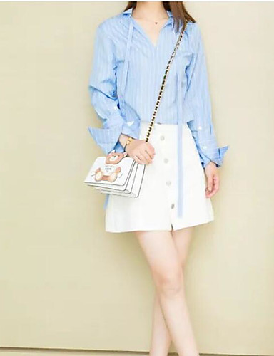Women's Daily Casual Casual Spring Summer Shirt Skirt Suits,Striped Color Block Shirt Collar Long Sleeve Cotton Micro-elastic