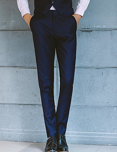 Men's Mid Rise Micro-elastic Chinos Pants,Street chic Slim Solid