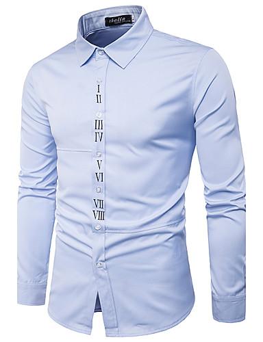Bomull Langermet,Klassisk krage Skjorte Rutet Chinoiserie Fritid/hverdag Herre
