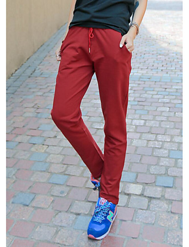 Women's Mid Rise Micro-elastic Active Pants,Simple Active Loose Straight Solid