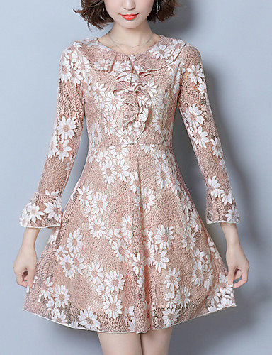 Women's Going out Street chic Sheath Lace Dress,Jacquard Peter Pan Collar Above Knee Long Sleeves Polyester Fall Mid Rise Micro-elastic