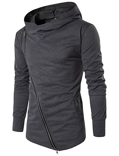 Men's Daily Sports Going out Casual Active Hoodie Solid Hooded Micro-elastic Cotton Polyester Long Sleeve Spring Fall