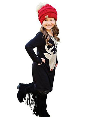 Girl's Print Dress,Cotton Spring Fall Long Sleeve Cartoon Black