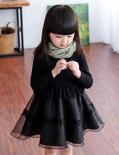 Girl's Solid Patchwork Dress, Rayon Polyester Spring Fall Long Sleeves Ruffle Black