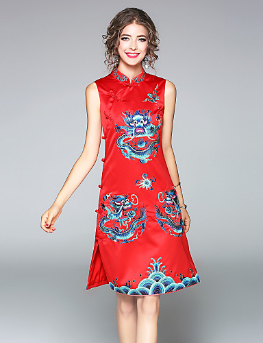 Women's Going out Daily Chinoiserie A Line Dress