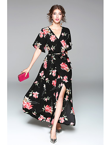 Women's Daily Going out Cute Casual Sexy Chiffon Swing Dress,Floral V Neck Maxi Half Sleeves Polyester Spring Summer High Rise