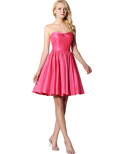 Prinsesse stroppeløs knelengde sateng chiffon brudepike kjole med bue (r)