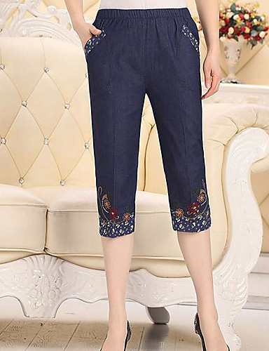 Women's High Waist strenchy Jeans Pants,Chinoiserie Vintage Straight Pure Color Embroidered Solid Floral