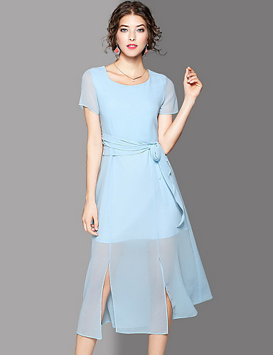 Women's Going out Cute Swing Dress,Solid Round Neck Maxi Short Sleeves Polyester Summer Mid Rise Micro-elastic Medium