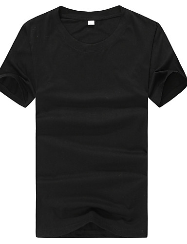 Men's Going out Street chic Summer T-shirt,Solid Round Neck Short Sleeves Cotton Thin
