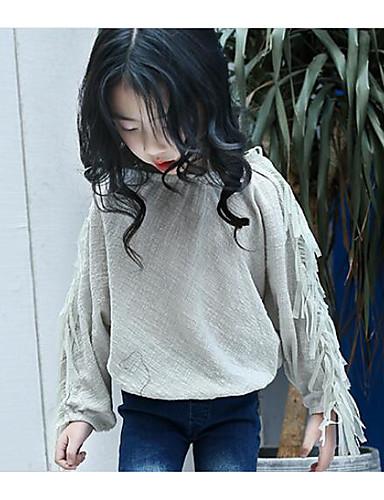Jente T-skjorte Ensfarget Bomull Nylon Sommer Kortermet