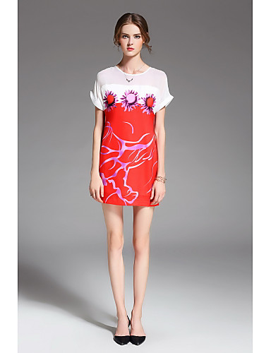 Women's Daily Holiday Going out Casual Loose Above Knee Dress,Floral Print Round Neck Short Sleeves