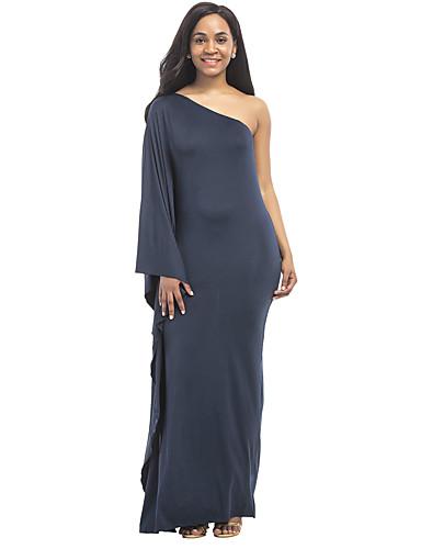 Women's Plus Size Sheath Dress - Solid Colored, Ruffle Maxi One Shoulder