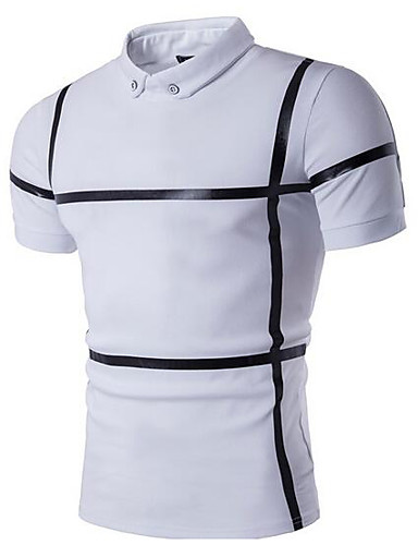 Men's Casual Cotton Polo - Solid Colored Striped Shirt Collar