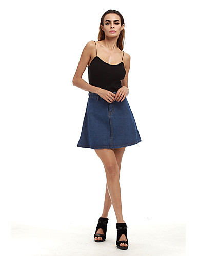 Women's Daily School Going out Club Holiday Above Knee Skirts A Line Polyester Solid Summer