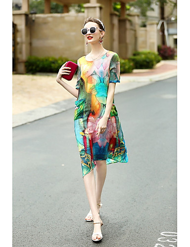 REVIENNE BAY Women's Holiday Going out Daily Vintage Sophisticated Loose Swing Dress