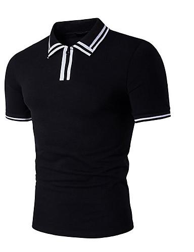 Men's Cotton Polo - Striped Shirt Collar