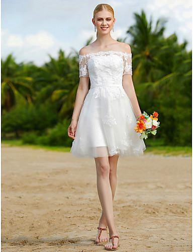 Linha A Ombro a Ombro Curto / Mini Tule Vestidos de noiva personalizados com Apliques Caixilhos / Fitas de LAN TING BRIDE®