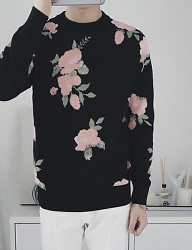 Men's Casual Regular Pullover,Print Round Neck Long Sleeve Acrylic Winter Medium Micro-elastic