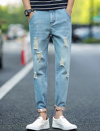 Men's Mid Rise Micro-elastic Chinos Pants,Simple Slim Solid