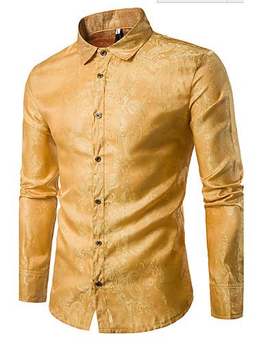 voordelige Herenoverhemden-Heren Luxe Jacquard Overhemd Katoen Effen Klassieke boord Slank Paars / Lange mouw