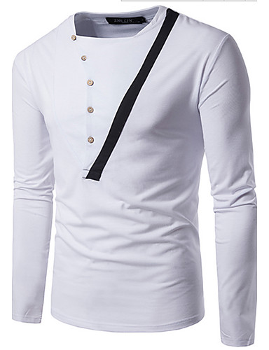 Men's Daily Casual T-shirt,Check Round Neck Long Sleeves Cotton