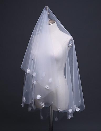 Two-tier Lace Applique Edge / Pencil Edge Wedding Veil Elbow Veils 53 Appliques / Embroidery / Ruffles Tulle / Classic