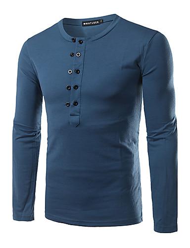 Polyester Langermet,Rund hals T-skjorte Ensfarget Enkel Fritid/hverdag Herre