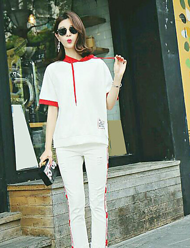 Women's Daily Casual Casual Summer Hoodie Pant Suits,Solid Patchwork Hooded Short Sleeve Cotton/nylon with a hint of stretch Micro-elastic