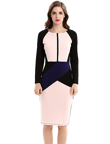 Women's Party Work Vintage Plus Size Bodycon Sheath Knee-length Dress,Color Block Round Neck Long Sleeves Fall High Rise