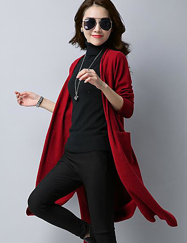 Women's Long Sleeve Long Cardigan - Solid Colored / Spring