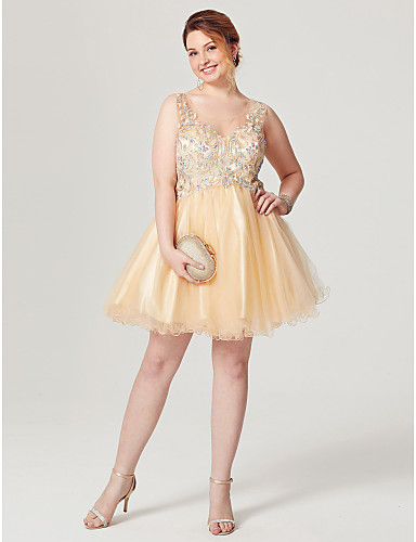 Fit & Flare Illusion Neckline Short / Mini Tulle Cocktail Party / Homecoming / Prom Dress with Beading Pleats by TS Couture®