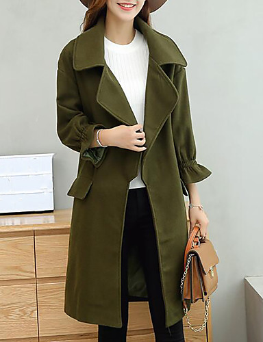 Women's Daily Simple Casual Winter Fall Trench Coat,Solid V Neck Long Sleeve Maxi Polyester