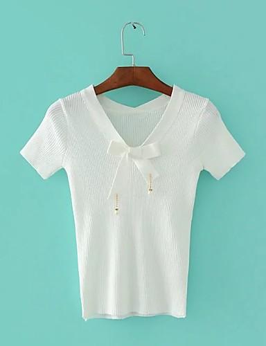 Silke Tynn Medium Kortermet,V-hals T-skjorte Ensfarget Sommer Sexy Enkel Gatemote Ut på byen Fritid/hverdag Dame