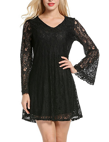 Women's Street chic Flare Sleeve Lace Dress - Solid Colored V Neck