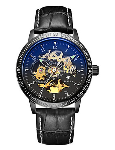 Men's Skeleton Watch Mechanical Watch Japanese Automatic self-winding Noctilucent Leather Band Black