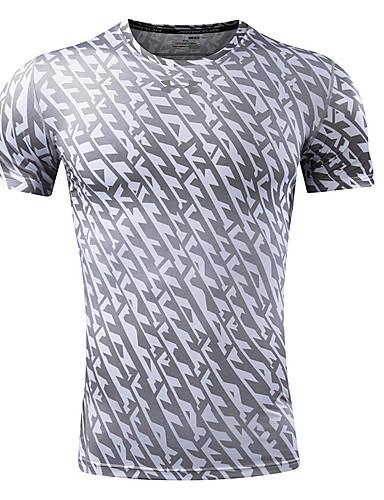 Bomull Kortermet,Rund hals T-skjorte Leopard Enkel Fritid/hverdag Herre