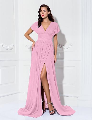 preiswerte Abendkleider-Eng anliegend V-Ausschnitt Pinsel Schleppe Chiffon Formeller Abend Kleid mit Gerafft / Plissee durch TS Couture®